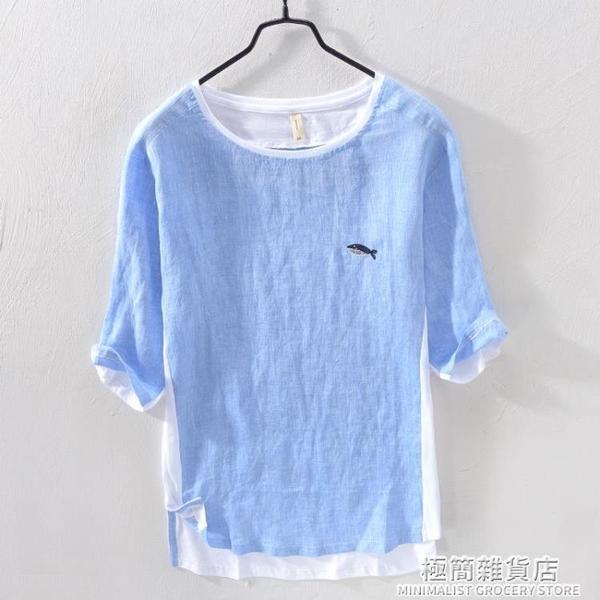 夏季刺繡T恤男亞麻料短袖潮牌潮流5五分中袖半袖棉麻布男裝上衣服 極簡雜貨