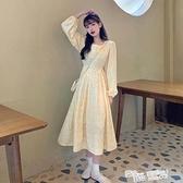 長袖連身裙女秋冬2021新款春秋季碎花法式氣質長裙收腰顯瘦裙子裝 夏季新品