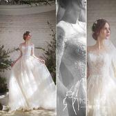 長袖禮服  輕婚紗禮服2018新款韓版新娘結婚一字肩長袖拖尾顯瘦齊地森系夏季