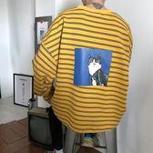 韓版寬鬆學生衛衣男士圓領外套青少年條紋上衣潮