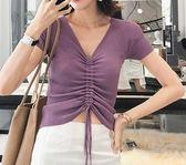 V領冰絲針織衫女短袖露臍T恤(4色可選)