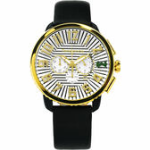 Tendence 天勢 立體休閒計時手錶-金x黑/47mm TY460016