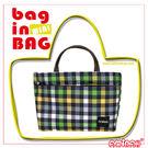 隨身系列 綠色格子紋  輕便小物 ~ 袋中袋 / 包中包 ~ 皮革提 AMINAH~【am-0134-1】