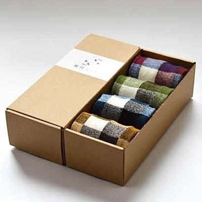 長襪禮盒(4雙裝)-時尚方格吸汗透氣純棉男士襪子套組4色72s19【時尚巴黎】
