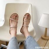 涼鞋女仙女風夏季新款ins學生百搭平底一字帶簡約兩穿羅馬鞋 居家物语
