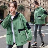 工裝外套女秋冬新款學生韓版寬鬆百搭bf連帽棒球服ins夾克潮