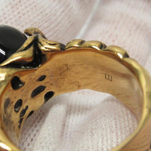 GUCCI 古馳 金黃銅x黑色浮雕珠飾復古戒指 Vintage Ring 【BRAND OFF】