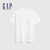 Gap男女同款 純棉海灘風印花短袖T恤 683938-白色