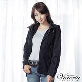 Victoria 休閒棉水洗薄外套-女-黑藍