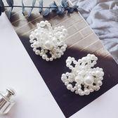 花朵珍珠耳環女韓流氣質個性百搭冷淡風超仙大氣誇張網【ADE160】