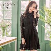 東京著衣【YOCO】優雅美肌朵朵花蕾絲綁帶洋裝-S.M.L(180183)