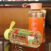 韓國時尚簡約塑料水杯男女學生便攜隨手提繩水瓶個性創意帶蓋杯子