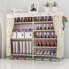 鞋架    簡易鞋架家用經濟型實木多層組裝防塵牛津布鞋櫃家里人宿舍  Igo