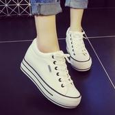 厚底鞋內增高小白鞋春季女百搭韓版學生休閒板鞋厚底帆布鞋子女 夏季上新