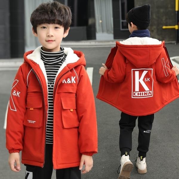 風衣秋冬男寶寶棉衣 中長款中大童韓版外套 兒童加絨加厚夾克外套 7Plus羽絨外套男孩