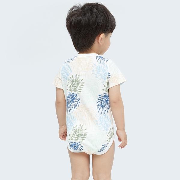 Gap嬰兒 布萊納系列 純棉紮染短袖包屁衣 734846-棕櫚樹圖案