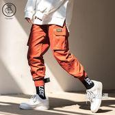 工裝褲多口袋工裝褲男寬鬆直筒九分嘻哈小腳哈倫束腳褲褲子男S-3XL