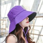 漁夫帽女士夏天日系遮臉 潮遮陽帽大沿防曬太陽帽雙面帽子~ 出貨八折下殺~