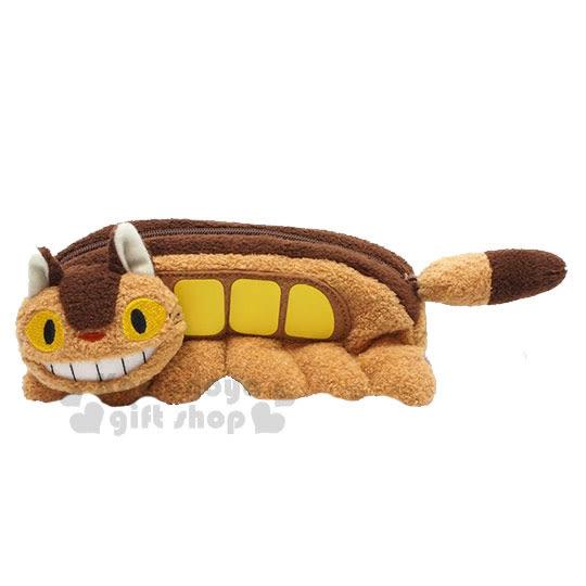 〔小禮堂﹞宮崎駿 Totoro 龍貓 造型絨毛筆袋《棕.龍貓公車》化妝包.萬用包 4974475-74993