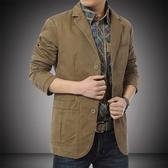 店長嚴選大碼 男士休閒西服男純色純棉外套夾克青年商務西裝上衣男單西秋