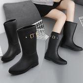 雨鞋女士正韓時尚雨季馬丁雨靴防水防滑果凍雨鞋啞光女式高筒雨鞋水鞋膠靴(免運)