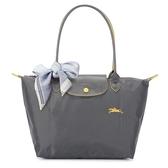 Longchamp 2605 LE PLIAGE 奔馬刺繡長提把小型尼龍摺疊水餃包(鐵灰色-含帕巾)480208-300