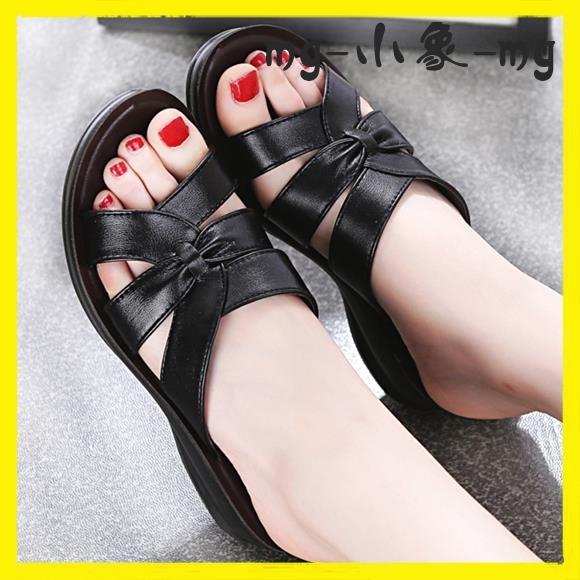 MG 外穿拖鞋-鞋子式涼拖鞋中年中老年涼鞋拖鞋坡跟平底防滑大碼外穿