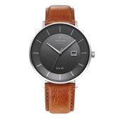 OBAKU 太陽能時尚環保鋼質腕錶-棕色牛皮X槍灰-V222GRCJRZ