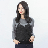 Victoria 蕾絲拼接長袖線衫-女-灰混紗+黑蕾絲