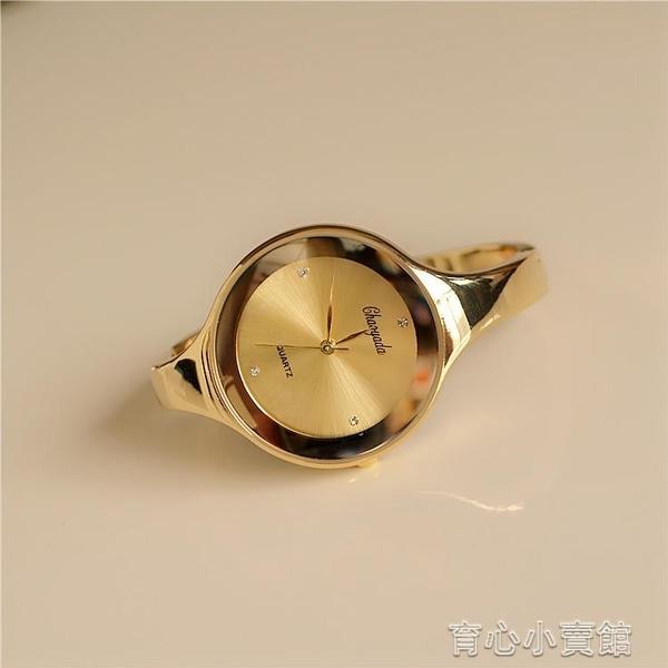 極簡風手鐲手錶女時尚金色簡約大氣手鐲式女式個性防水裝飾時裝錶 新年特惠