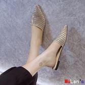 穆勒鞋 水鉆 包頭 半拖鞋 平底 低跟 穆勒鞋 外穿 尖頭涼拖