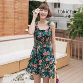 東京著衣-熱帶印花氣息甜美洋裝-S.M(181109)