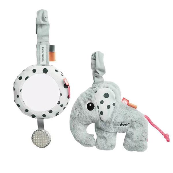 丹麥 DONE BY DEER To go小象兩件組|安撫玩具|推車汽座玩具