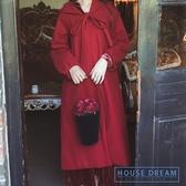 斗篷外套女 法式復古紅色大衣中長款寬鬆連帽斗篷外套女秋冬加棉加厚 HD