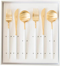 Cutipol【日本代購】葡萄牙 GOA系列餐具 白/金晚餐6件套