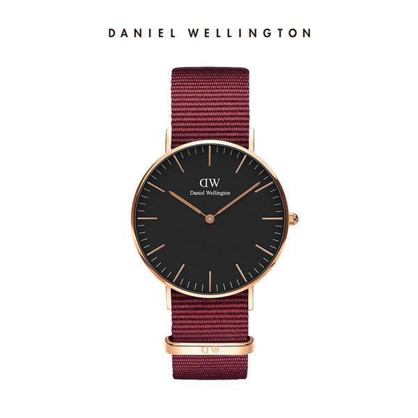DW 手錶 官方旗艦店 36mm玫瑰金框 Classic 玫瑰紅織紋手錶 - Daniel Wellington