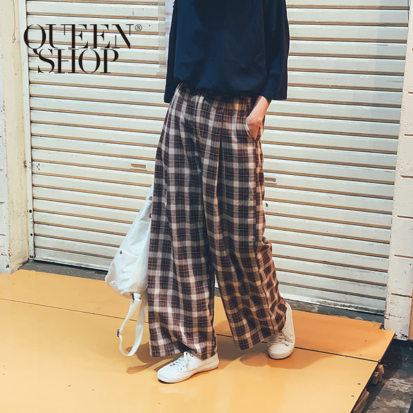Queen Shop【04110233】配色格紋寬褲 S/M/L 兩色售*現+預*