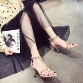 高跟涼鞋 中跟一字帶扣羅馬女夏細跟方頭細帶鉚釘小清新-炫科技