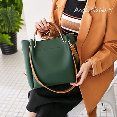 側背包-高質感簡約純色百搭3way水桶包手提包斜背包 (SBA0321) AngelNaNa