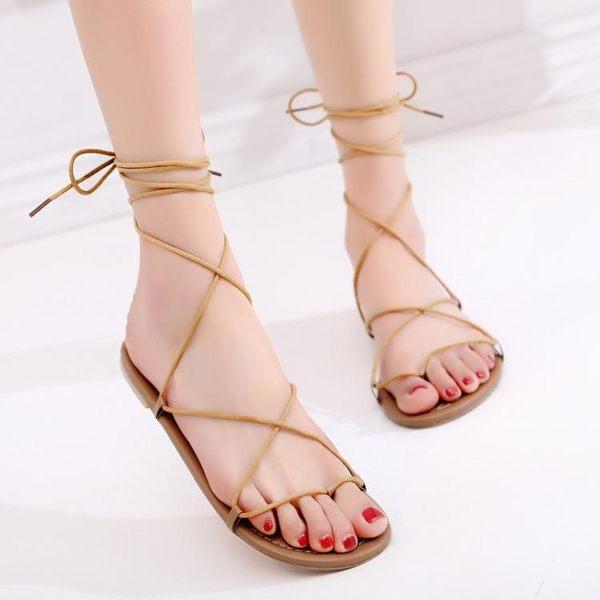 2018新款波西米亞羅馬綁帶涼鞋女夏系帶平底海邊度假沙灘鞋女夾趾  良品鋪子