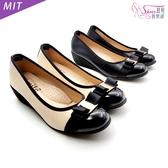 包鞋.氣質蝴蝶結MIT楔型娃娃鞋.黑/米【鞋鞋俱樂部】【019-876】4cm