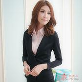 OL上班/面試/專題/制服/套裝/正式服飾【A38156】彈性雙扣長袖外套+西裝裙套裝(黑)32-46吋衣衣夫人OL