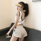 新款交叉露背小性感外穿無袖心機短款復古純色打底內搭背心上衣女