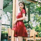 春裝新款韓版氣質縷空港味冰絲針織洋裝女夏季赫本小黑裙潮 糖糖日系森女屋