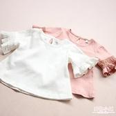 2019夏裝新款韓版女童短袖兒童體恤圓領蕾絲喇叭袖上衣兒童T恤潮