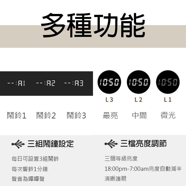 【coni shop】BLADE長方形聲控LED木質時鐘 現貨 當天出貨 鬧鐘 數字鐘 木頭鐘 溫度計 萬年曆