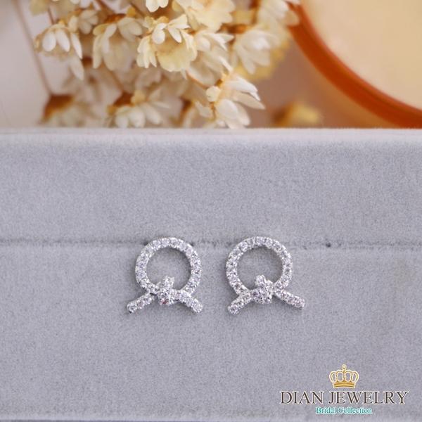 【DIAN 黛恩珠寶】QQ鑽結 CZ鑽造型耳環(CS6351)