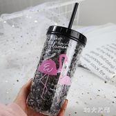 火烈鳥杯子夏日冰杯碎冰杯創意韓版雙層制冷隨手杯帶吸管水杯 QG3958『M&G大尺碼』
