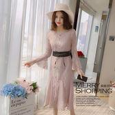 洋裝 蕾絲喇叭袖A字連身裙-媚儷香檳-【D862】