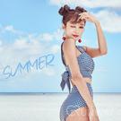 格子 復古高腰 修飾 格紋泳裝 背後蝴蝶結 顯瘦 二件式泳裝 比基尼 美胸型 集中鋼圈 泳衣 泳裝